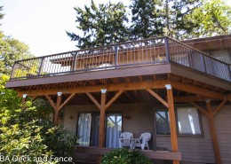 Azek deck using Acacia border and Sedona body. Alumarail in Brown for railing.